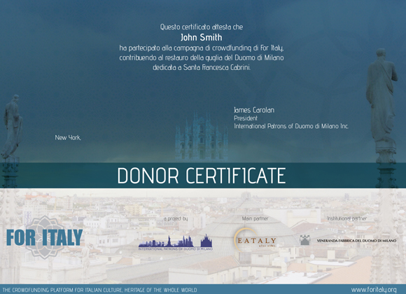 donor certificate